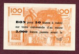 """"""" BON POUR 50 FRANCS """" De 1949 Sur BILLET De 100 FRANCS FICTIF - Specimen"""