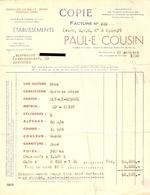 Belgique 1950 - Facture Voiture OPEL Olympia Coach - Etablis.  P.E. Cousin à Bruxelles Chée De Charleroi - Cars