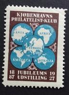 KJOBENHAVNS PHILATELIST KLUB JUBILEUM 1827 - 1927 ETICHETTA PUBBLICITARIA  ERINNOFILO - Erinnofilia