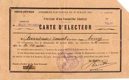 VP14.779 - Commune De THOUARSAIS 1925 - Carte D'Electeur De Mr AUMONIER Marcel - Cartes