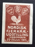KOBENHAVN  1911  NORDISK FJERKRAE UDSTILLING   CON  UN BEL GALLO ETICHETTA PUBBLICITARIA  ERINNOFILO - Erinnofilia