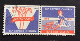 HELP CRIPPLED CHILDREN  1958 EASTER SEALS   ETICHETTA PUBBLICITARIA  ERINNOFILO - Erinnofilia