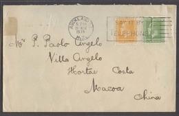 NEW ZEALAND. 1934 (22 Nov). Auckland - Macao, China (21 Dec). Via HK. Fkd Env Slogan Cancel 2 1/2d Rate 1 Month Travel A - Nouvelle-Zélande
