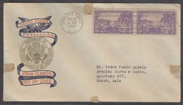 USA - Virgin Isl.. 1937 (15 Dec). Charlotte Amalie VI - Macao, Asia (13 Jan 38). Via HK Comm Fkd Env Circulated To Most - Unclassified