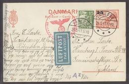DENMARK. 1941 (21 May). Vanlose - Germany. 25 Ovptd Red Stat Card Adtl Nazi Censored Tied Air Label. VF Scarce. - Danemark