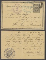 PANAMA. 1893 (7 July). Panama - Guatemala, San Jose (26 July). German Consuar Mail. 2c Black Stat Card Scarce Puerto De - Panama