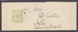 MONTENEGRO. 1898 (7 Feb). Cettigne - Bosnia, Mostar. 3n Pale Green Stat Wrapper Perforated Type. - Montenegro