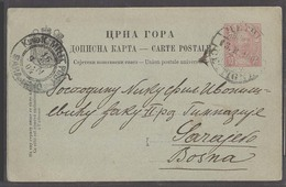 MONTENEGRO. 1904 (13 Feb). Cettigne - Bosnia, Sarajevo (16 Feb). 10 Para Red Black Stat Card. Fine Used Proper Text Arri - Montenegro