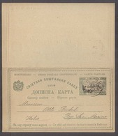 MONTENEGRO. 1897 (10 Feb). Cettigne - Italy. 2n Bicolor Double Stat Card. Fine. - Montenegro