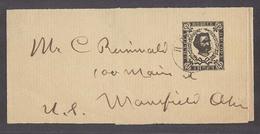 MONTENEGRO. C.1895 (24 Feb). Cettigne - USA, Mansfield, OH. 3n Black Stat Wrapp Cds. Fine Used. - Montenegro