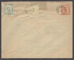 MONTENEGRO. C.1900 (11 July). Cettigne - Offenbury / Germany. 5n Red Orange Stat Env 2 Adtls Cds. Philatelic Usage. - Montenegro