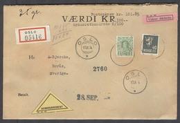 NORWAY. 1934 (17 Sept). Oslo - Sweden, Boras (18 Sept). Reg Insured For 101.85 Korona Multifkd Env 1 Korona 40 Ore Rate - Norway