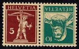 """Schweiz Suisse 1928: Kehrdruck """"Tell & Fils"""" Tête-bêche Zu K23 Mi K24 ** Postfrisch MNH (Zumstein CHF 3.50) - Kehrdrucke"""