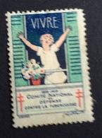 CONTRO LA TUBERCOLOSI   VIVRE !!  1928-29  ETICHETTA  PUBBLICITARIA  ERINNOFILO - Erinnofilia