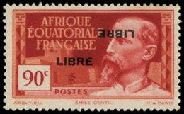AFRIQUE EQUATORIALE Poste * - 114b, Double Surcharge Dont Une Renversée, Signé Calves (Légères Rousseurs) - Cote: 170 - Zonder Classificatie