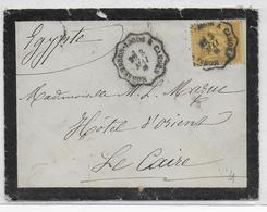 1881 - ENVELOPPE  Avec AMBULANT CONVOYEUR LIGNE CAHORS à MONSEMPRON-LIBOS Sur SAGE  => LE CAIRE (EGYPTE) - DESTINATION - Marcophilie (Lettres)