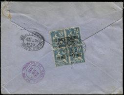 ALEXANDRIE Poste  - 42, Bloc De 4 Sur Enveloppe Recommandée Alexandrie 5/1/23 Pour New-York, (Cad D'arrivée), 24/1/23 - Alexandria (1899-1931)