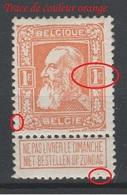 Belgique - 1905 - **  - COB 79a - 1F - Défaux - Trace De Couleur Orange - Valeur   685€ - 1905 Grosse Barbe