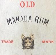ETIQUETTE ANCIENNE OLD MANADA RUM RHUM 44 ° OLD LABEL RUM ETICHETTA RUM ALCOOL CHAT CAT KITTEN - Rhum