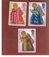 GRAN BRETAGNA (UNITED KINGDOM) -  SG 913.915 -  1972 CHRISTMAS (COMPLET SET OF 3)  - USED° - Usati