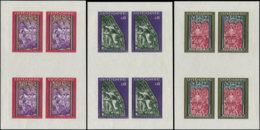 ANDORRE Non Dentelés ** - 204/8, 3 Feuillets De 4 Non Dentelés - Cote: 280 - Briefmarken
