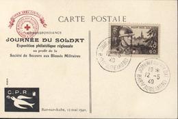 Guerre 39 45 Croix Rouge Journée Du Soldat Bar Sur Aube 19  12 5 40 Exposition Philatélique Régionale YT 451 - Marcophilie (Lettres)