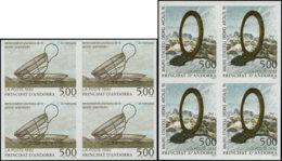 ANDORRE Poste ** - 423/24, 2 Blocs De 4 Non Dentelés: 5.00 Oppenheim Et Staccioli - Cote: 384 - Postzegels