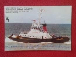 TARJETA TIPO POSTAL TYPE POST CARD QSL RADIOAFICIONADOS RADIO AMATEUR ALFA TANGO GROUPE FRANCE CHAMBON SHIP BOAT BATEAU - Tarjetas QSL