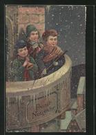 AK Kinder Musizieren Nachts Auf Dem Kirchturm, Prosit Neujahr - Anno Nuovo