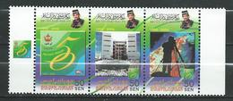 Brunei 2002 The 50th Anniversary Of Survey Department. Camera.volcano, Lava. Strip.MNH - Brunei (1984-...)