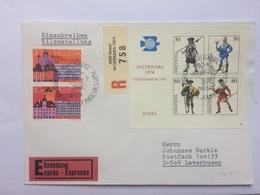 SWITZERLAND 1974 Internaba Centenarium UPU Basel Minisheet FDC Express Registered Basel To Leverkusen - Switzerland