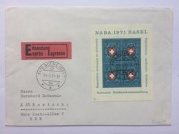 SWITZERLAND 1971 Naba Basel Minisheet Express Buchs To Rostock - Covers & Documents