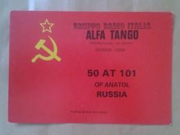 TARJETA TIPO POSTAL TYPE POST CARD QSL RADIOAFICIONADOS RADIO AMATEUR ALFA TANGO USSR URSS SOVIET UNION RUSSIA RUSIA VER - Tarjetas QSL