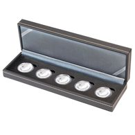 Lindner NERA Coin Case S For 5 Pcs. Germany. € 10 Collector Coins With Polymer Ring In Coin Capsules, Incl. Capsules - Supplies And Equipment