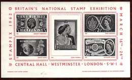 GIROSTAMPS54.- STAMPEX 1962 BRITAIN'S NATIONAL STAMPS EXHIBITIÓN - CENTRAL HALL . WESTMINSTER LONDON S.W.1 - Hojas Bloque