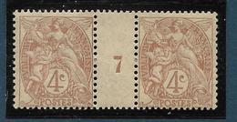 Type Blanc : 4 C Brun-jaune Type 1 Paire Millésime 7 – Neuf Sans Charnière - 1900-29 Blanc