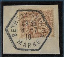 Type Blanc : 4 C Brun-jaune Type 1 Oblitéré Bétheny-aviation / Marne 8.7.1910 Sur Petit Fragment - 1900-29 Blanc