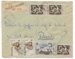 1958 - MADAGASCAR - ENVELOPPE Par AVION RECOMMANDEE De MANAKAMBAHINY ! => ST DENIS REUNION - Covers & Documents