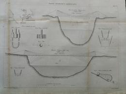 ANNALES DES PONTS Et CHAUSSEES (USA) - Ponts Suspendus Américains - Gravé Par Macquet - 1886 (CLE34) - Travaux Publics