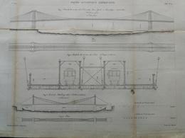 ANNALES DES PONTS Et CHAUSSEES (USA) - Ponts Suspendus Américains - Gravé Par Macquet - 1886 (CLE35) - Travaux Publics
