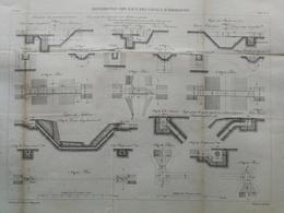 ANNALES DES PONTS Et CHAUSSEES -Plan Des Distributions Des Eaux Des Canaux D'irrigation Graveur E.Pérot 1882 (CLE37) - Public Works