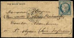 FRANCE Ballons Montés  - La Poste De Paris, Départ 15/7/71, Arrivée St. Nazaire 28/01/71, (Gazette N° 27) - Cote: 550 - Marcofilie (Brieven)