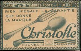 FRANCE Carnets * - 199-C31, Carnet Complet De 20, Charnières En Angle, Christofle: 50c. Semeuse Lignée (S. 185 N) - Cote - Booklets