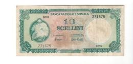 Somalia 10 Scellini Banca Nazionale Somala 1966 Bel Bb Lotto.2473 - [ 6] Colonias