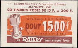 """FRANCE Carnets ** - 886-C10, Carnet Complet De 20, Pli De Gomme Sur 4ex., """"Rotary"""" : 15f. Bleu Gandon Type I (S. 11) - C - Usage Courant"""