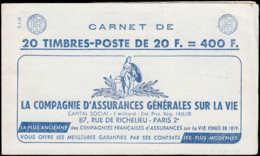 FRANCE Carnets ** - 1011B-C14, Carnet Complet De 20, 1 Point De Rouille, Cd 14/4/58: 20f. Muller (S. 6.58) - Cote: 105 - Booklets