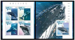 Guinea Bissau 2015 Fauna Marine Mammals Whales Klb + S/s MNH - Baleines