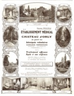 """PUB """" CHATEAU D'ORLY """"  TRAITEMENTS ALCOOLIQUES/MORHINOMANES   """" ETABLISSEMENT MEDICAL """"   1913 ( 1 ) - Ile-de-France"""