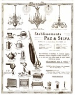 "PUB ELECTROMENAGER  "" PAZ & SILVA  ""   1913 ( 2 ) - Technical"