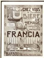 """PUB   BIERE De MENAGE  """" FRANCIA  """"  1913  ( 1 ) - Alcools"""
